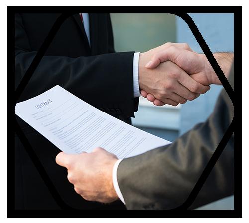 shaking hands in hexagon shape graphic